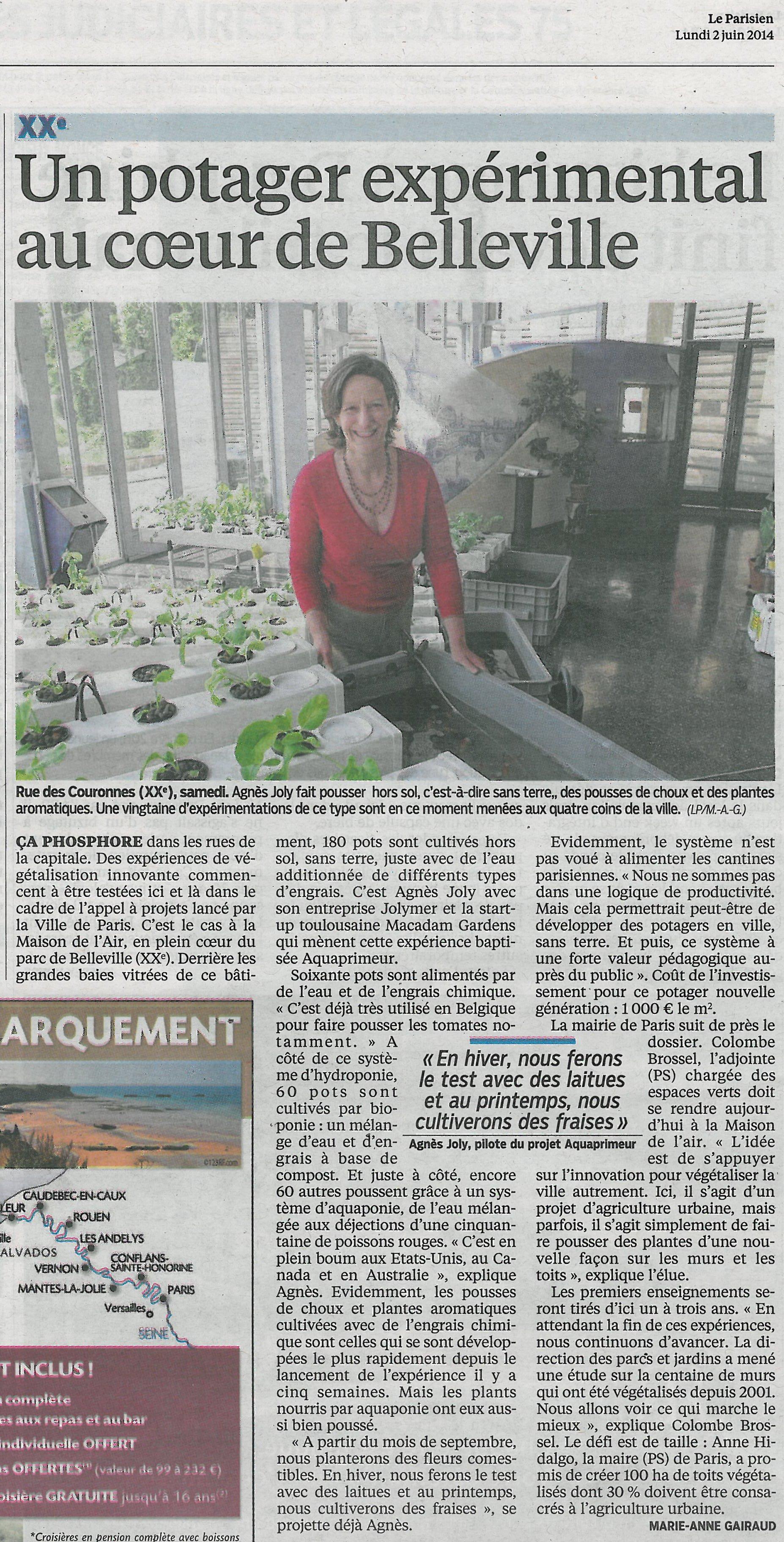 Premier article de presse pour le projet : Le Parisien